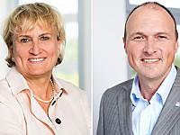 Prof. Dr. Johanne Pundt MPH, Präsidentin, und Prof. Dr. Kurt Becker, Vizepräsident Forschung, der APOLLON Hochschule