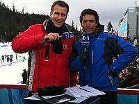 René Kindermann (li.) mit Co-Moderator Peter Schlickenrieder bei den Olympischen Winterspielen