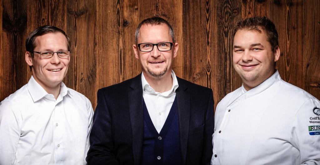 D. Stenzel (F&B-Direktor), M. A. Kühnelt (Hoteldirektor), M. Fischer (Küchenchef) v.l.n.r.
