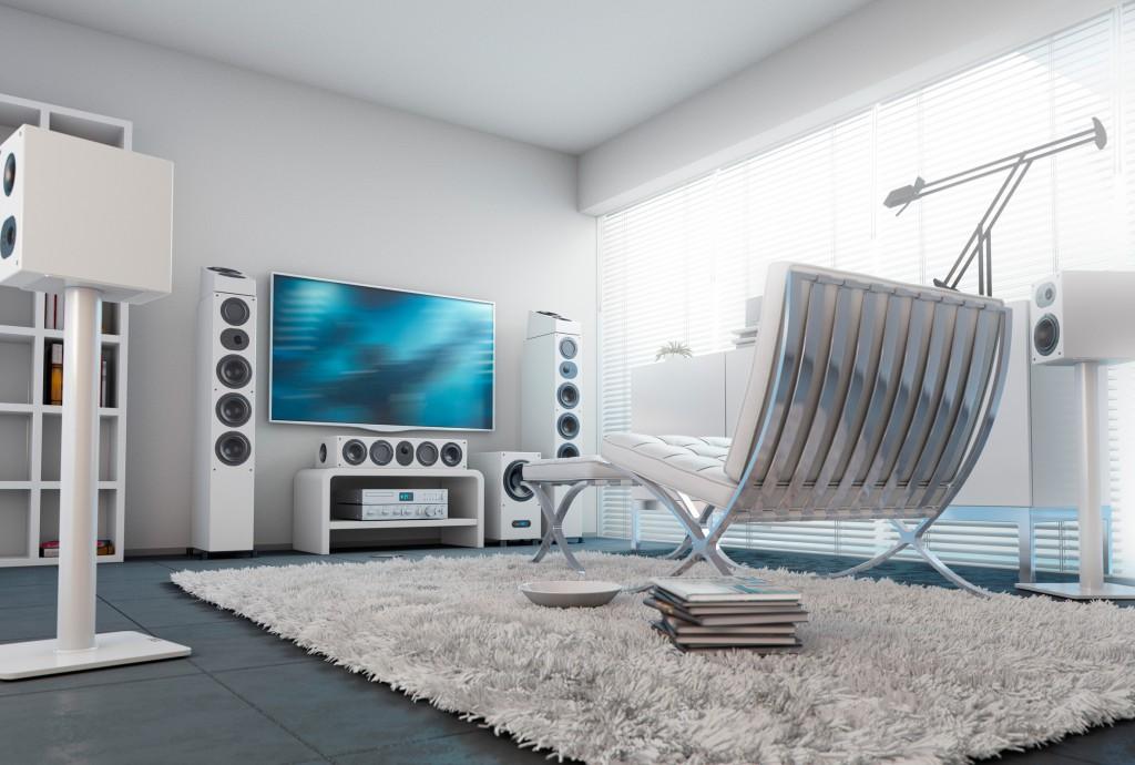 Surround-Set mit der nuLine 284 als Frontlautsprecher und dem nuLine RS-54 als Atmos-Speaker für 3D-Klang
