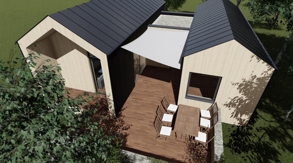 Architekten-Entwurf eines Hauses des neuen Seehaus-Resort